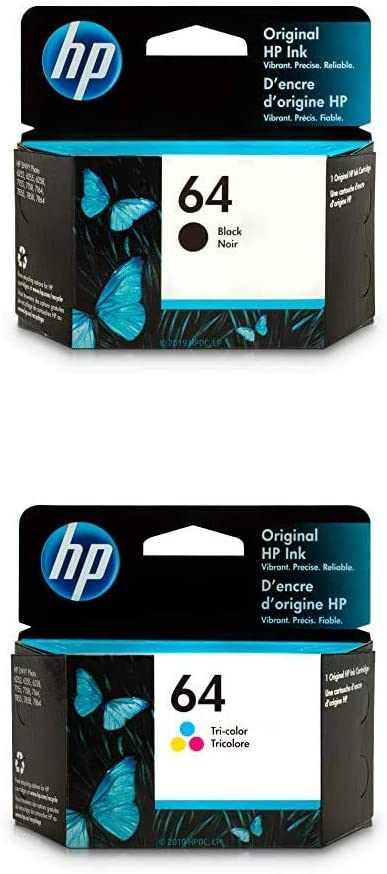 HP 64 | 2 Ink Cartridges | Black, Tri-Color | N9J90AN, N9J89AN | Bundle
