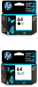 HP 64 | 2 Ink Cartridges | Black, Tri-Color | N9J90AN, N9J89AN | Bundle