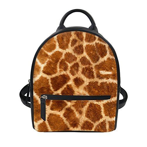 Giraffe Fur Pattern Women Small Backpack Purse PU Leather Casual Backpacks Diaper Bag