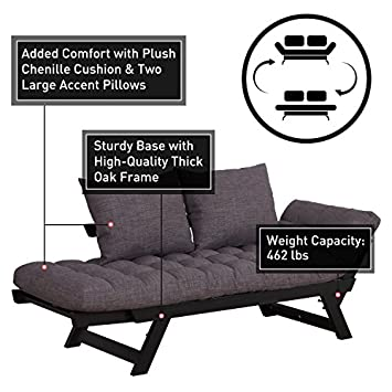 HOMCOM 3 Position Convertible Chaise Lounge Sofa Bed – Black Charcoal