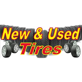 used tires banner sign tires sale sell wheels wheel rim rims rubber tread rain slick. Black Bedroom Furniture Sets. Home Design Ideas
