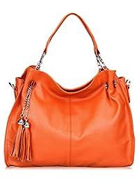 SAIERLONG Womens European And American Style Orange Cowhide Messenger bag handbag shoulder bag