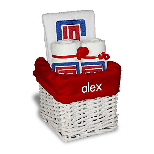 Personalized Los Angeles Clippers Small Baby Gift Basket (Officially Licensed) Includes One Bib and Two Burp Cloths ()