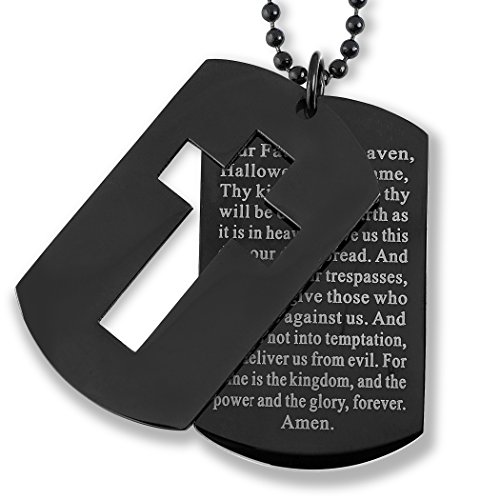 West Coast Jewelry | Crucible Black Plated Stainless Steel Cross and 'Lord's Prayer' Double Dog Tag Pendant - 24