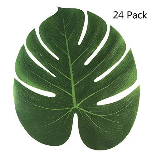 Aytai 24Pack Large Artificial Soft Tropical Palm Leaves for Hawaiian Luau Party Decoration, DIY Palm Leaf Place Mat Table Runner Wedding Table Decorations Jungle Party Supplies
