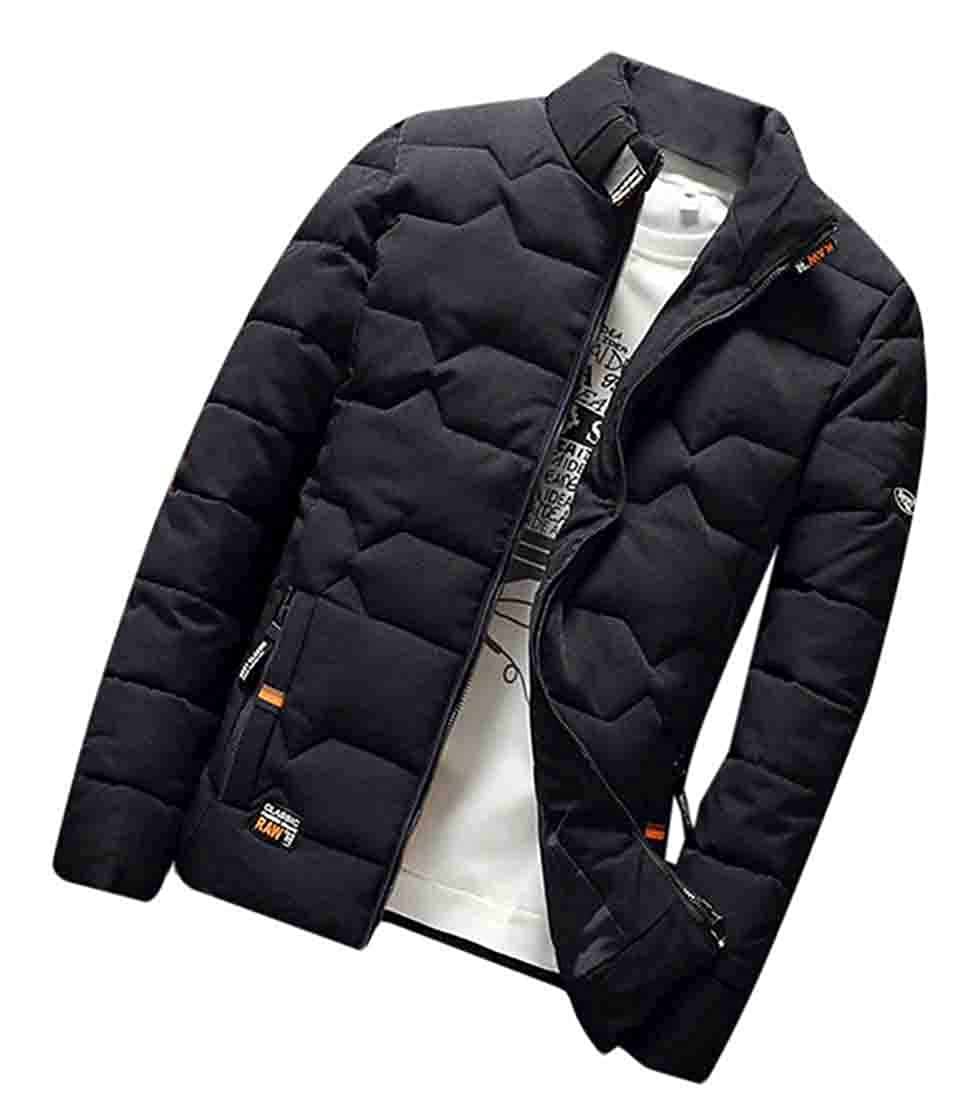 KLJR Men Full-Zip Quilted Padded Slim Fit Stand Collar Thick Down Parka Coat
