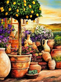 24W x 32H Lemon Topiary by Eduardo - Stretched Canvas