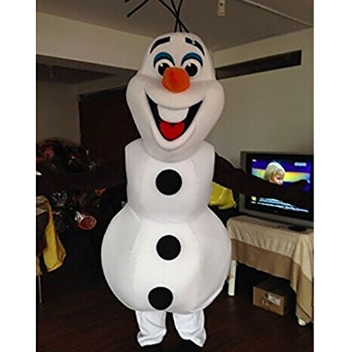 Cosplaydiy Snowman Mascot Costume Adult Size Helloween Cosplay (178-182, white)