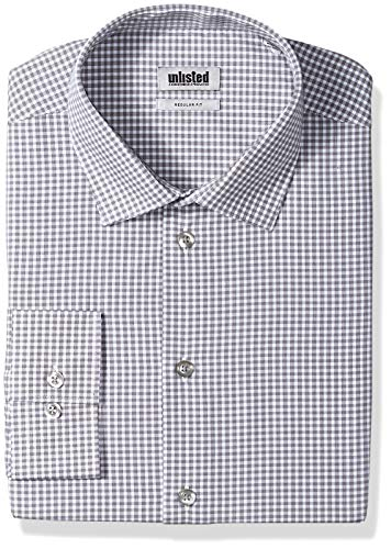 Kenneth Cole Unlisted Men's Dress Shirt Regular Fit Check, Grey, 17