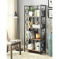 Vintage Brown Finish Black Metal Wall 4-Tier Bookshelf Bookcase