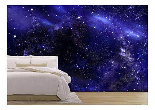 - wall26 - Starry Night Sky Deep Outer Space - Removable Wall Mural | Self-Adhesive Large Wallpaper - 66x96 inches