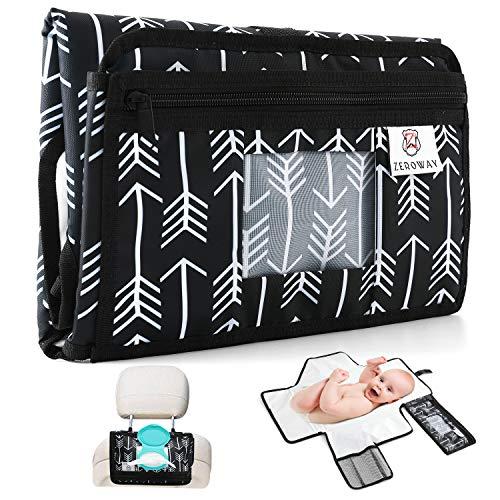 Zeroway Travel Changing Station Kit - Portable Diaper Changing Pad with Front Wipe Pocket - Extra Large Smart Changing Kit - Best Baby Shower Gifts (Withe Arrow)