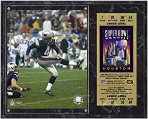 New England Patriots Super Bowl XXXVIII Adam Vinatieri Plaque with Replica Ticket - Fanatics Authentic Certified