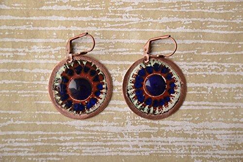 Handmade Copper Earrings With Enamel Sinevir