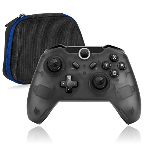 NiceCo Wireless Pro Game Controller Remote Gamepad + Protective Travel Carrying Case Bag for Nintendo Switch Gaming Console (Black(With Case))