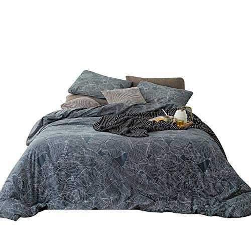 - YuHeGuoJi 3 Pieces Duvet Cover Set 100% Cotton Queen Size Gray Botanical Bedding Set 1 Tropical Leaves Patterned Duvet Cover with Zipper Ties 2 Pillowcases Luxury Quality Soft Breathable Lightweight