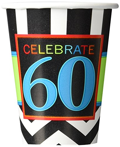 Must-Have Chevron and Stripes 60th Birthday Party Paper Cups Tableware, Pack of 8, Multi , 9 Ounces, Paper