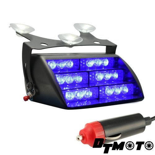 DT MOTO™ Blue 18x LED Personal Emergency Vehicle Windshield Strobe Dash Warning Light – 1 unit