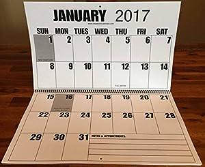 Amazon.com : Jumbo Large Print 2017 Wall Calendar 13-months, with ...