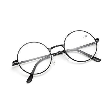 7067f66be7 Haodasi Retro Men Women Round Reading Glasses Metal Frame Reader  strength +1.0 to +4.0  Amazon.co.uk  Clothing