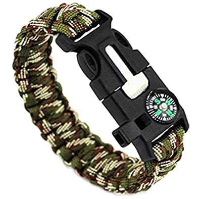 Anboo 5 In 1 Outdoor Rope Paracord Survival Tool Gear Escape Bracelet Flint/Whistle/Compass