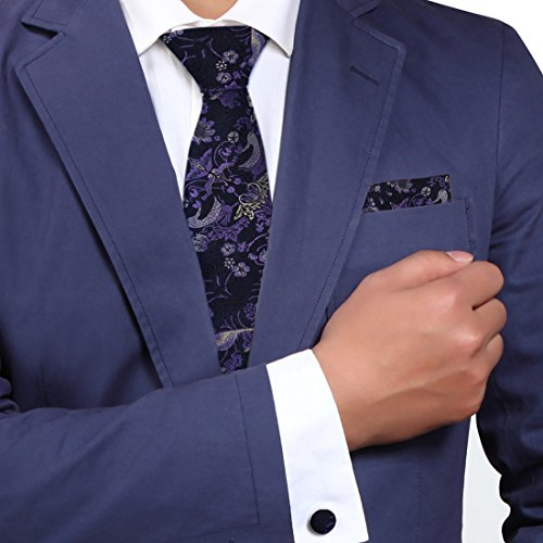 Designer Inspired Blue White Paisleys 100% Jacquard Woven Silk Tie Hanky Mens Purple Pattern Necktie and Cuff Links Cufflinks And Handkerchiefs Set With Presentation Box H5034 148cm*9cm blue,white - Pattern Necktie Cufflinks