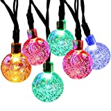 JAR-OWL Solar String Light 20ft 30LED Fairy String Lights Bubble Crystal Ball Lights Decorative Lighting for Christmas Garland Garden Home Patio Lawn Party Holiday Outdoor Decor (Multicolor)
