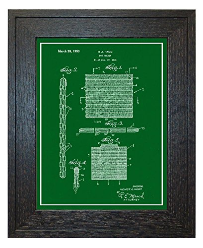 Pot Holder Patent Art Green Print with a Border in a Rustic