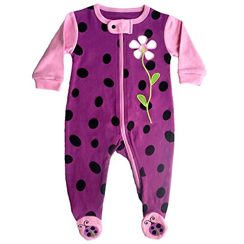 Sozo Girls' Toddler Ladybug Footie, Pink, 12 Months