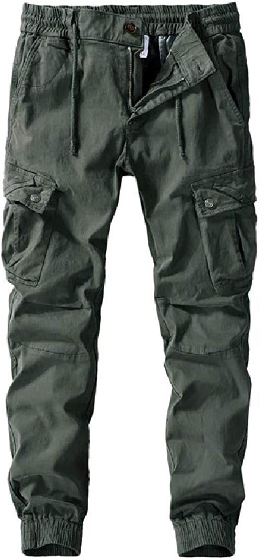 EnergyWD Men Fashion Close-bottom Casual Relaxed-Fit Washed Cargo Pants