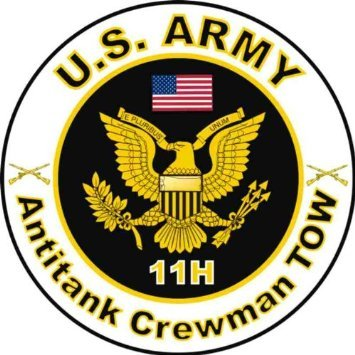 United States Army MOS 11H Antitank Crewman TOW Decal Sticker (11h Sign)
