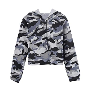 1d91702eddcab4 Lelili Clearance Women Camouflage Hoodie Pullover Fashion Long Sleeve  Cropped Hooded Sweatshirt Tops (S,