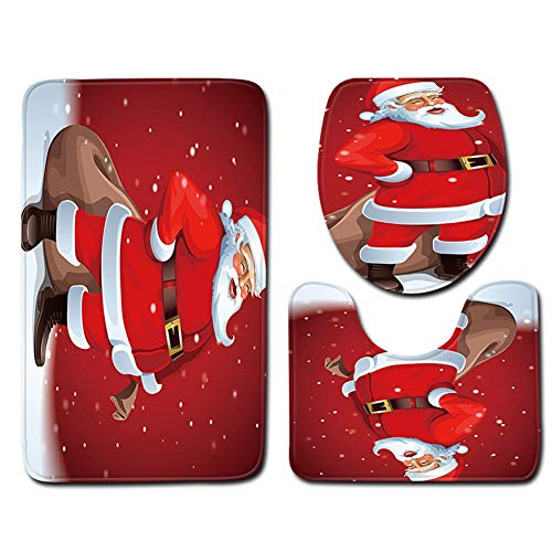 Hasde Christmas Bath Mats Set, 3 Piece Santa Claus Bathroom Mats Set with Non-Slip Rugs, Toilet Lid Cover, Bath Mat, for Christmas Decorations (Santa Bathroom Accessories)