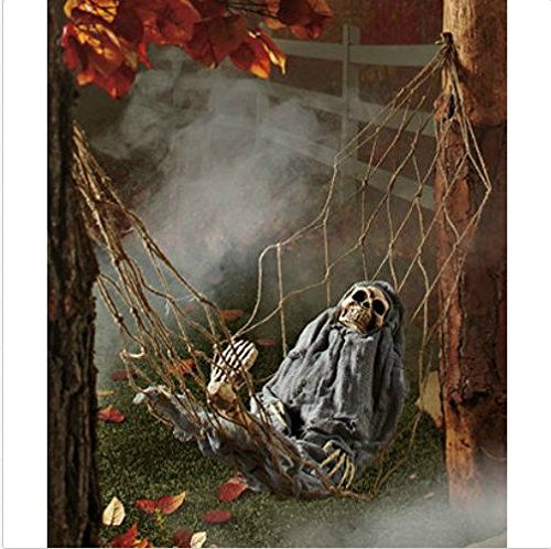 Halloween Yard Decoration Skeleton in Hammock Scary Interative Sounds and Movement (Scary Outdoor Halloween Decorations)