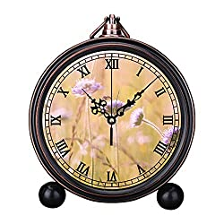 Retro Innovative Student Clock Alarm Clock Table Iron Decoration Desktop Clock Round Purple Flower Field