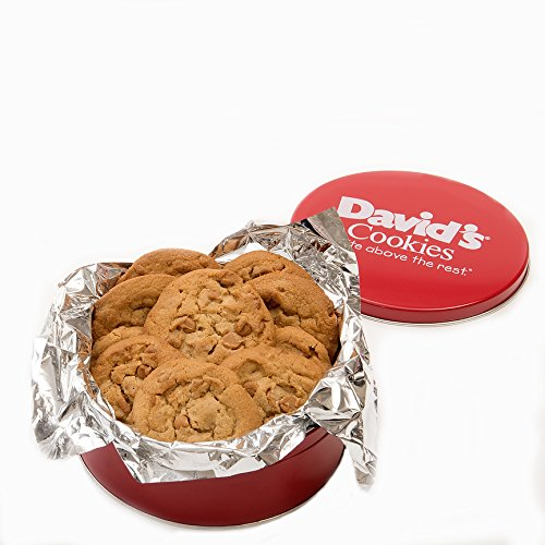 David's Cookies — Peanut Butter Fresh-Baked Cookie Gift Tin — Contains 12 Fresh Cookies — OU-D Certified Kosher Product — Fresh Homemade Cookies — No Added Preservatives — All-Natural Cookies — 1 lb.