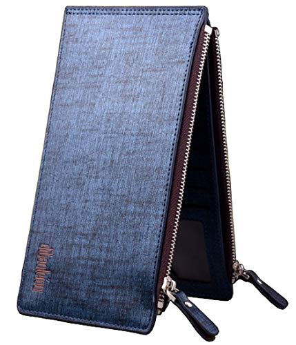 (Bi-fold Slim Long Leather Wallet Phone Case for Men [ iPhone Samsung ] Double Zippers & 15 Multi Credit Card Slots (Blue) )