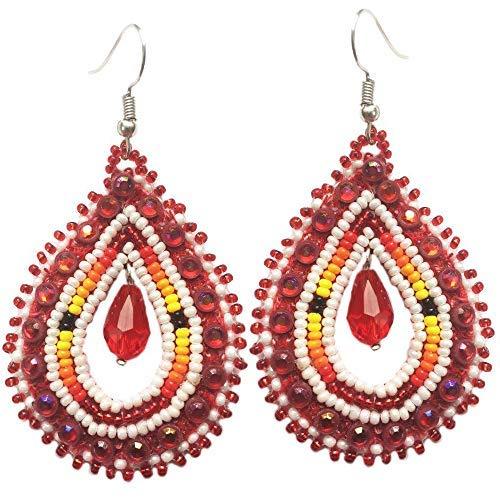 (Handmade Glass Seed Beaded Teardrop Earrings (Red White) )