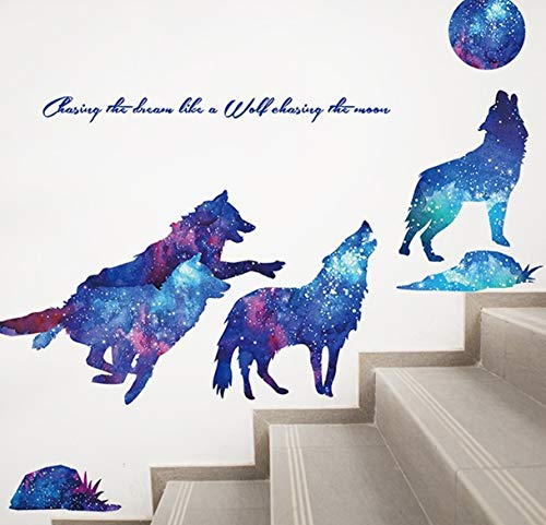 GVGs Shop 1 Pack Wolf PVC Self Adhesive DIY Wild Animal for Kids Baby Bedroom Wall Sticker Lotus Flower Dinosaur Sun Decals Living Room Car Decal Paradisiacal Popular Vinyl Mural Art Decor, Type-03