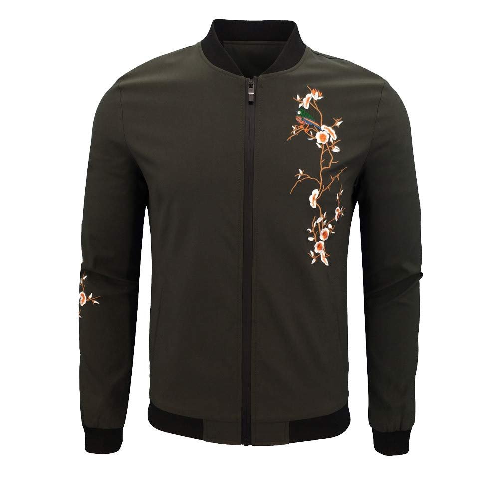 Dacawin Men's Winter Coat Sale Casual Printing Long Sleeve Zipper Jacket Baseball Uniform Army Green