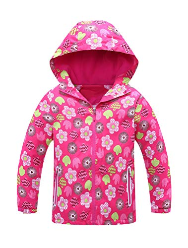 Mallimoda Girls Hooded Jacket with Fleece Liner Printing Outdoor Coat Outwear Red 7-8 Years