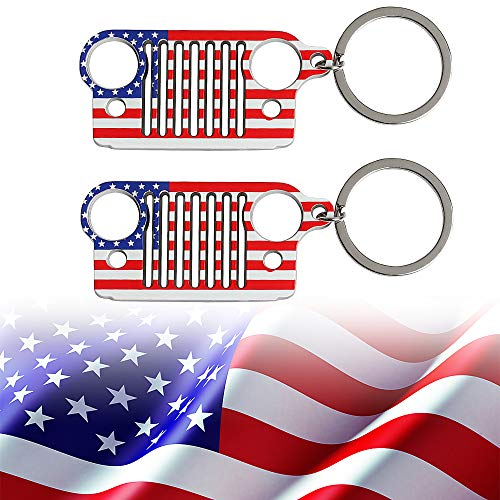 Used, 2 PACK Jeep Grille American Flag Keychain for Jeep for sale  Delivered anywhere in USA