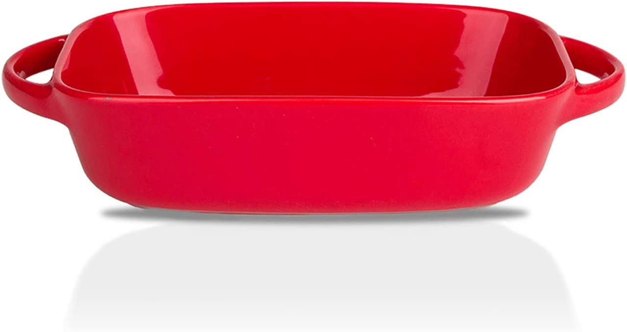 MDZF SWEET HOME Ceramic Baking Dish for Oven Individual Roasting Lasagna Pan Small Casserole Bakeware with Handle Rectangular Dish, Red