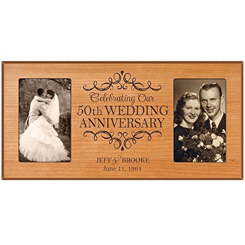 50th Anniversary Picture frame Gift Personalized 50th wedding anniversary with Couples names and anniversary dates Golden Anniversary Gifts (Cherry)