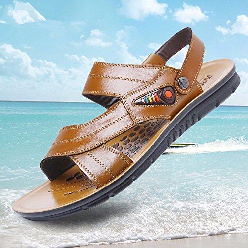 estate Il nuovo Spiaggia scarpa Uomini vera pelle sandali vera pelle traspirante Tempo libero scarpa Uomini Taglia larga sandali ,giallo,US=8,UK=7.5,EU=41 1/3,CN=42
