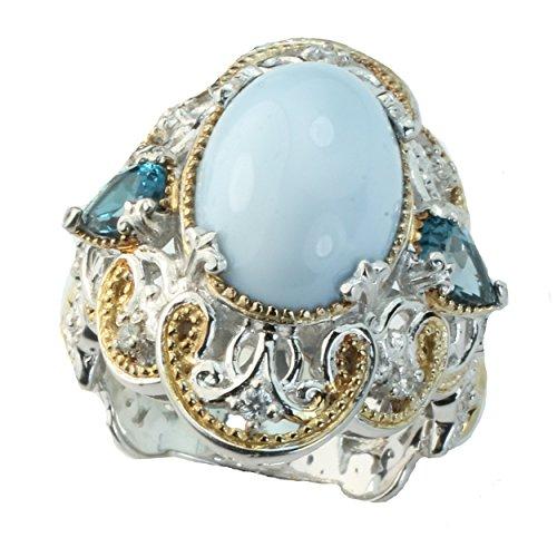 Michael Valitutti Palladium Silver Blue Opal, London Blue Topaz & White Sapphire Ring