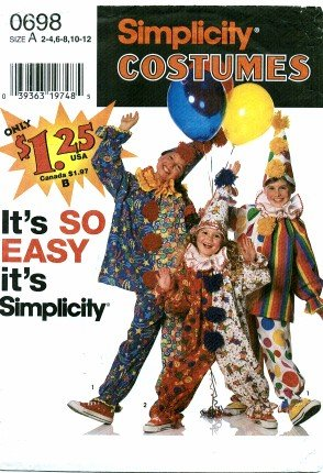 Simplicity 0698 Sewing Pattern Boys & Girls Clown Costumes & Hat Size 2 - 4 (Clown Costume Patterns)
