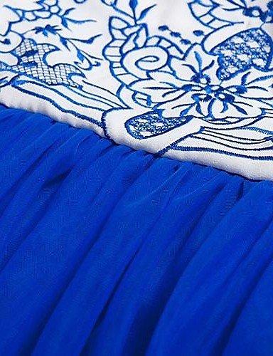 PU&PU Robe Aux femmes Swing Vintage , Imprimé Col Ras du Cou Maxi Soie , blue-xl , blue-xl