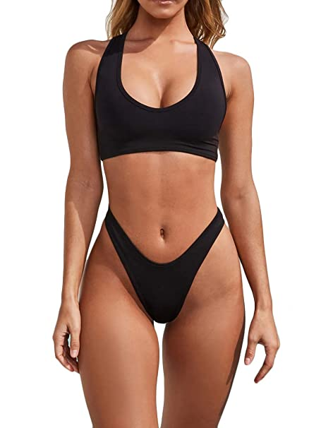 f951764bb Amazon.com: MOPOOGOSS Womens Scoop Neck Crop Top High Cut Thong Bikini Sets  2PCS Swimsuits Swimwear: Clothing