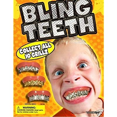 Fun Bling Bling Grillz - Set of 10 Gold and Silver Insert Grillz Fun Fake Teeth: Toys & Games